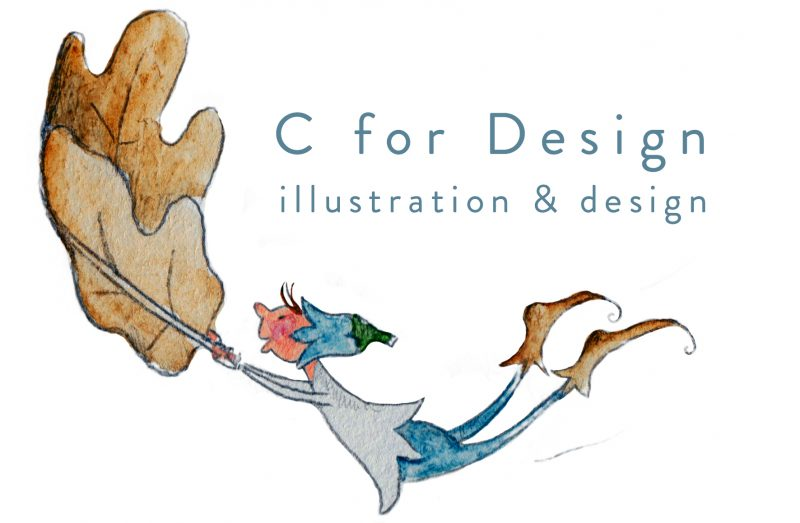 c for design logo with elf hanging from leaf