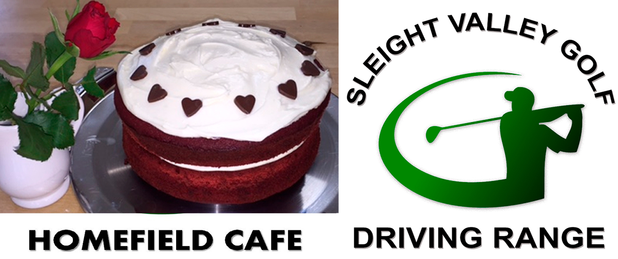 Homefield Cafe & Sleight Valley Golf cake & logo