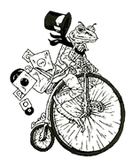 Vinyl Realm logo - toad on a penny farthing