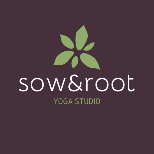 Sow & Root yoga studio logo with green leaves