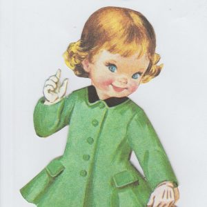 Dollies Dimples logo - young girl in gree coat with black collar